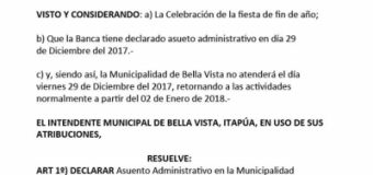 RESOLUCIÓN Nº 4.111/2017 DE LA MUNICIPALIDAD DE BELLA VISTA sobre Asueto Administrativo para el día 29 de Diciembre del 2017.