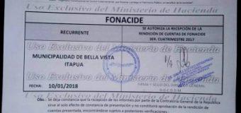 La Municipalidad de Bella Vista presentó en tiempo y forma la rendición de cuentas de FONACIDE y de ROYALTIES del tercer cuatrimestre del 2017.