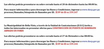 La Municipalidad de Bella Vista comunica la adjudicación de Obras de Empedrado, detallados en el siguiente informe.