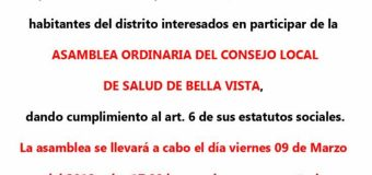 ASAMBLEA ORDINARIA DEL CONSEJO LOCAL DE SALUD DE BELLA VISTA