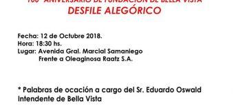 Programa del Desfile Alegórico cívico – estudiantil en homenaje al Centenario de Bella Vista.