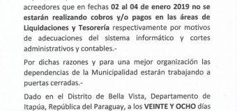 LA MUNICIPALIDAD DE BELLA VISTA COMUNICA E INFORMA A LA CIUDADANÍA.