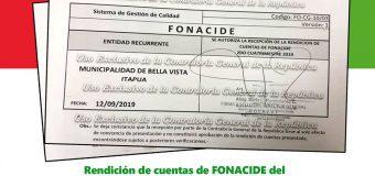 Presentación en tiempo y forma la rendición de cuentas de FONACIDE y de ROYALTIES