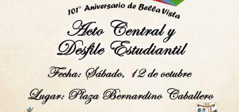 Acto Central y Desfile estudiantil en conmemoración al 101° Aniversario Fundacional del Distrito de Bella Vista