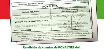 Rendición de cuentas de los fondos de ROYALTIES