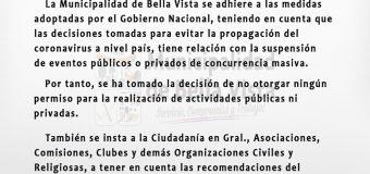 La Municipalidad de Bella Vista se adhiere a las medidas adoptadas por el Gobierno Nacional