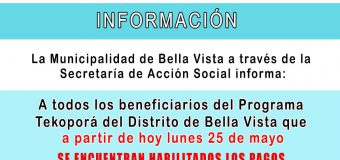 La Municipalidad de Bella Vista a través de la Secretaría de Acción Social informa