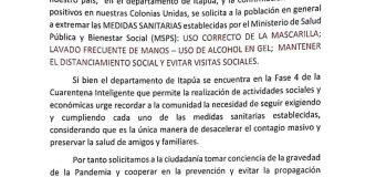 La Asociación de Municipalidades de las Colonias Unidas (AMCU), comunica: