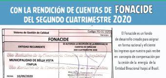 Rendición de cuentas del Segundo Cuatrimestre 2020 de los recursos de FONACIDE.