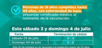 Vacunación Anticovid a personas de 18 a 49 años con enfermedad de base